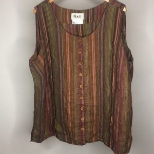 FLAX Linen sleeveless striped button down size 3G